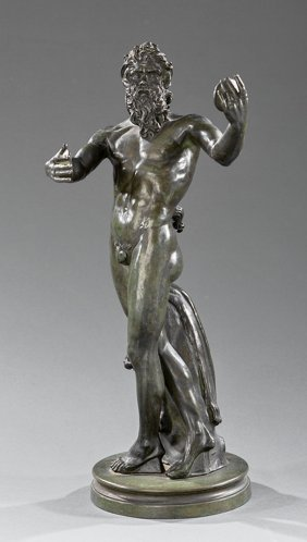 Italian Bronze Figure Of A Faun Holding Cymbals