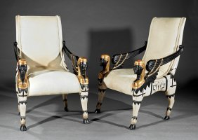 Painted, Ebonized, Parcel Gilt Fauteuils