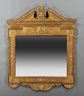 Pair Of Baroque-style Carved And Gilded Mirrors