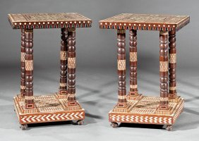 Pair Of Mother-of-pearl Inlaid Hardwood Tables