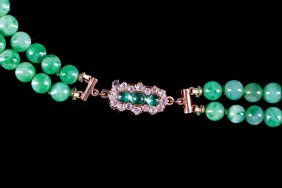 Two Strand Jadeite And Pearl Necklace