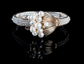 14 Kt. Gold And Cultured Pearl Bracelet