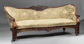 Gothic Carved Rosewood Settee, Poss. Riddell