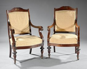 Regency-style Brass Inlaid Rosewood Armchairs