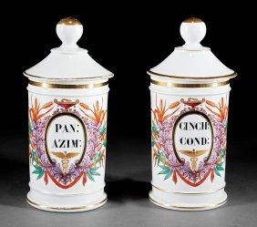 Two Paris Porcelain Apothecary Jars