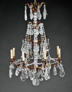 Gilt Bronze & Rock Crystal Eight-light Chandelier