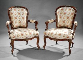 Pair Of Rococo Revival Bronze-mounted Armchairs