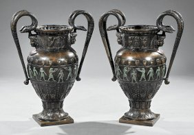 Egyptian Revival-style Patinated Bronze Urns