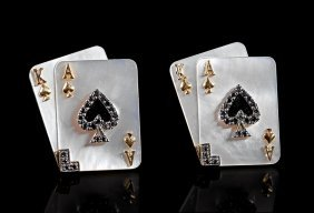 Gold And Mother-of-pearl Playing Card Cufflinks