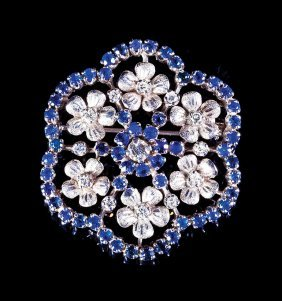 White Gold, Diamond And Sapphire Pin