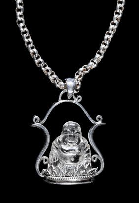 Sterling Necklace Carved Crystal Buddha Pendant