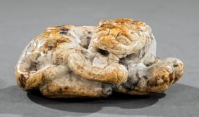 Chinese Calcified White, Gray, Russet Jade Tiger