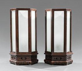 Pair Chinese Hardwood Lanterns