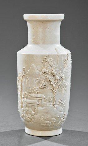 Chinese White Glazed Pottery Rouleau Vase