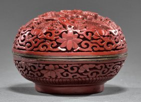 Chinese Cinnabar Lacquer Covered Box