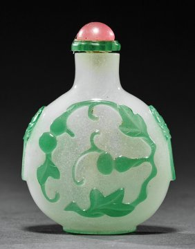Chinese Pale Green Overlay Glass Snuff Bottle