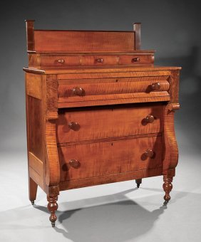 Late Classical Tiger Maple Chest Of Drawers