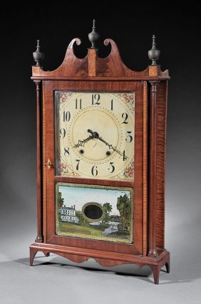 Eli Terry Maple Pillar And Scroll Clock