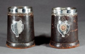 Gorham Leather & Sterling Silver-mounted Tankards