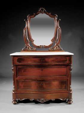Carved Rosewood And Marble Top Dressing Chest