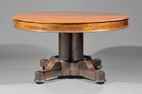 American Carved Mahogany Extension Dining Table