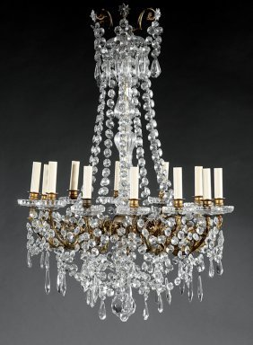 Gilt Bronze And Cut Crystal Chandelier