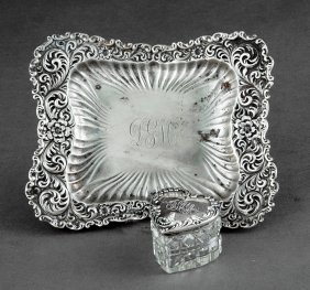Whiting Sterling Silver Repousse Pin Tray
