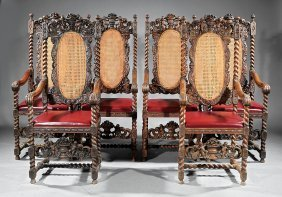Six Jacobean-style Carved Oak And Caned Armchairs