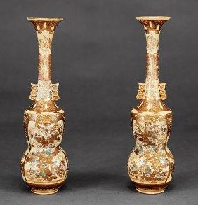 Japanese Satsuma Pottery Bottle Vases