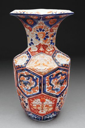 Japanese Imari Porcelain Faceted Baluster Vase