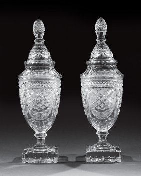 Pair Of Anglo-irish Cut Glass Sweetmeat Urns