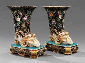 Pair Of Paris Porcelain Rhyton Vases