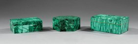 Three Russian Malachite Boxes