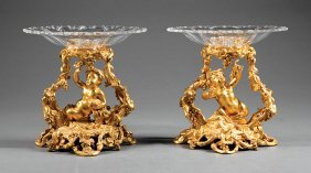 French Gilt Bronze And Cut Glass Figural Tazzas