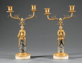 Continental Gilt Bronze And Marble Candelabra