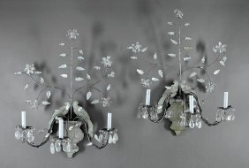 Pair Bagues-style Rock Crystal And Tole Sconces