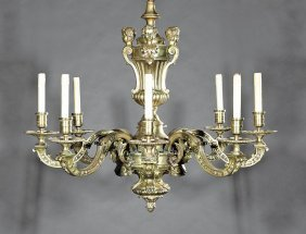 Regence-style Bronze Eight-light Chandelier