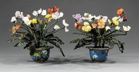 Chinese Hardstone Trees In Cloisonne Enamel Pots