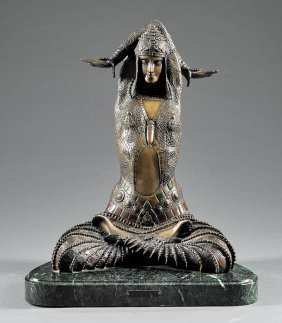 Art Deco-style Patinated Bronze Of Seated Dancer