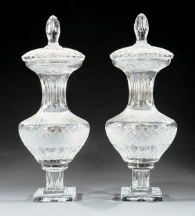 Pair Of Baccarat-style Cut Glass Covered Urns