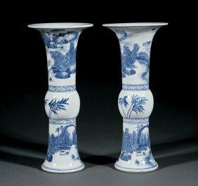 Chinese Blue And White Porcelain Beaker Vases