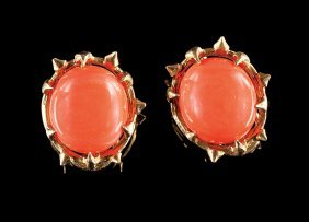 Schlumberger 18 Kt. Gold & Coral Earclips