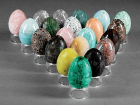 Twenty-one Semi-precious And Hardstone Eggs