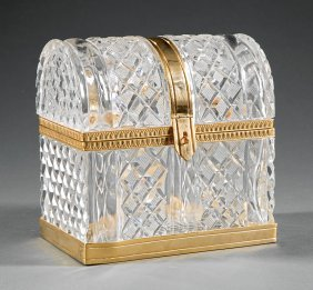 French Gilt Metal-mounted Cut Crystal Box