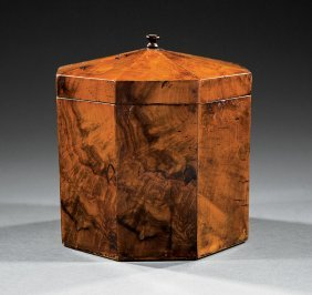 George Iii Figured Walnut Octagonal Tea Caddy