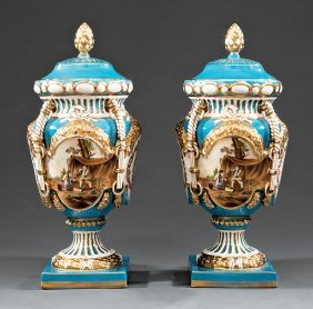 Polychrome And Gilt Porcelain Covered Urns