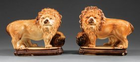 Pair Of Staffordshire Lions
