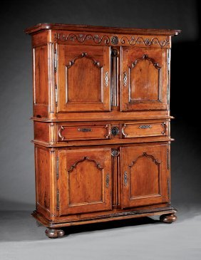 Carved Fruitwood Buffet Deux Corps