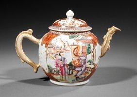 Chinese Export Mandarin Palette Porcelain Teapot