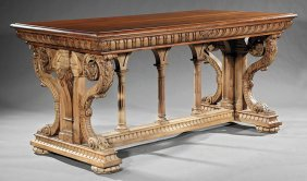 Renaissance-style Carved Walnut Library Table
